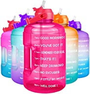 QuiFit 1 Gallon Water Bottle - with Straw & Motivational Time Marker Leak-Proof BPA Free Reusable Gym Spor