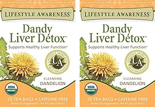 Lifestyle Awareness, Dandy Liver Detox w/ Cleansing Dandelion, Caffeine Free, Organic, 20 Count / 2 Pack by Lifestyle Awareness Tea