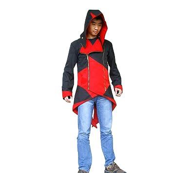 Assassins Creed chaqueta con capucha AC3 traje rojo y negro ...