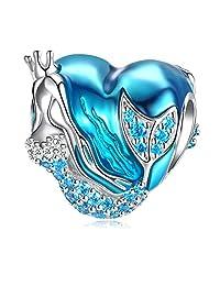 Mermaid Charms fit Pandora Charms Bracelet, 925 Sterling Silver Charms Bead CZ Heart Shape Blue Enamel Bead Ocean Sea Charm for European Snake Bracelets Bangles Necklace Women Girls Gift