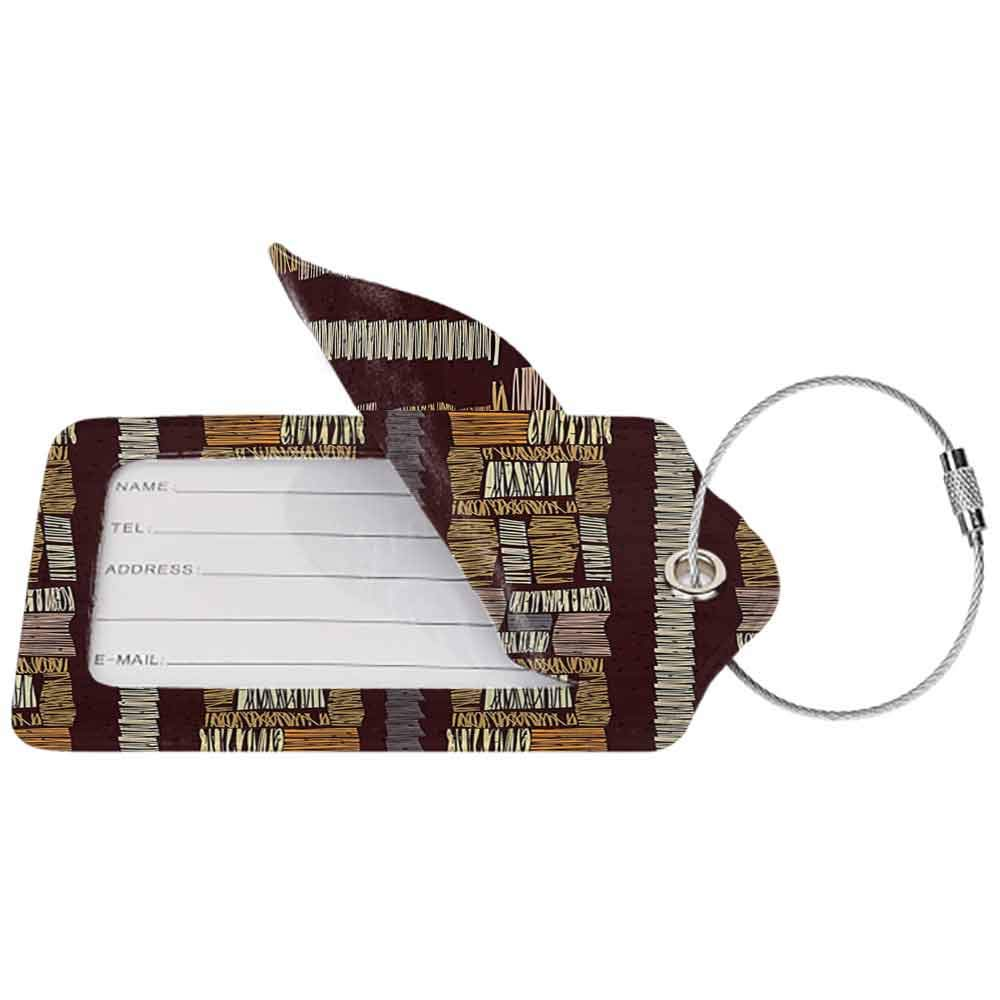 Durable luggage tag Modern Decor Abstract Seamless Stripes Ornament Etnic Vector Image Brown Artwork Print Unisex Multicolor W2.7 x L4.6