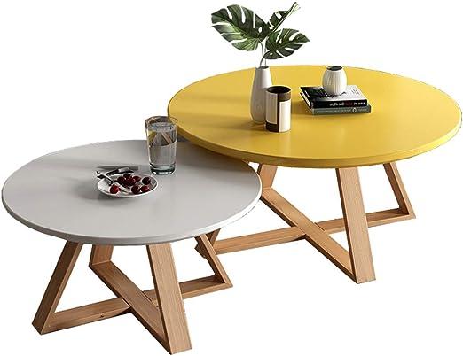 mesas nido salon Pack 2, Mesas de centro modernas de madera redonda, Mesas de sofá de patas de madera de haya, Ø50cmx40cm + Ø70cmx 45cm: Amazon.es: Hogar
