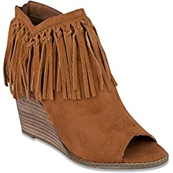 Mari A Womens Athena Peep Toe Wedge Bootie Ankle Boot with Fringe 9 Cognac