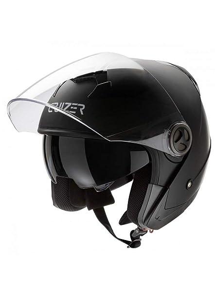 Cruizer Casque Pour Moto Et Scooter Demi Jet Homologue Avec Double Visiere Interieur Dehoussable Et Lavable Chisura Avec Boucle Support Tangentiel