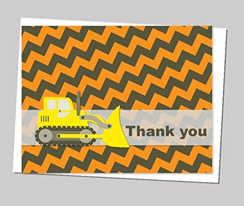 Construction Truck Thank You Cards and Envelops (Set of 12) - Birthday