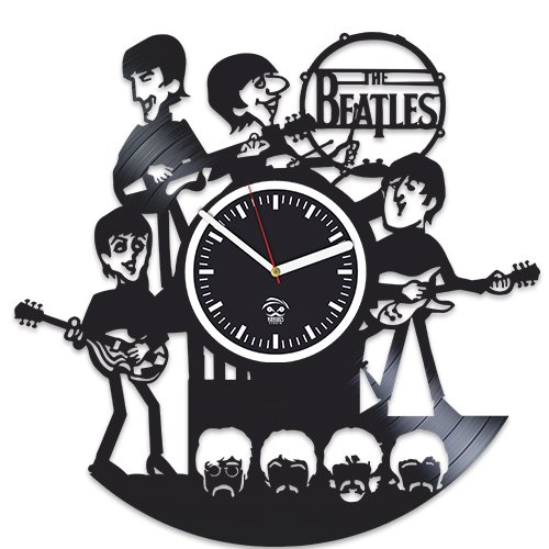 Rock Music Band, The Beatles Vinyl Clock, John Lennon And Yoko Ono, Vinyl Wall Clock, Handmade, Best Gift for Fans, Vinyl Record Clock, Kovides, Silent, Wall Sticker, Valentines Day Gift For Him For Sale