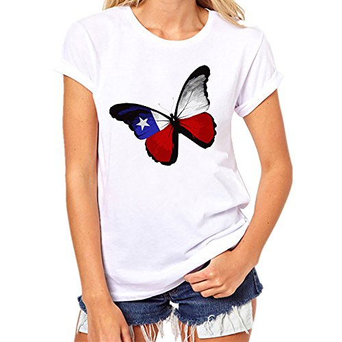 Butterfly Flag Print Short Sleeve Cotton Causal Tops Blouse (XXL, White) ()