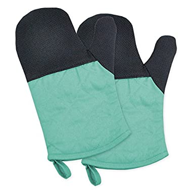 DII 100% Cotton, Machine Washable, Heat Resistant to 425 Degrees, Everyday Kitchen Basic  Oven Mitt, 6 x 11 , Set of 2, Aqua