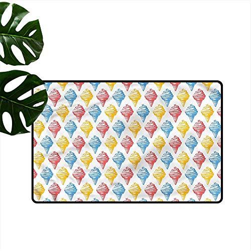 DUCKIL Interior Door mat Food Ice Cream Cones 50s Time Hard and wear Resistant W31 xL47
