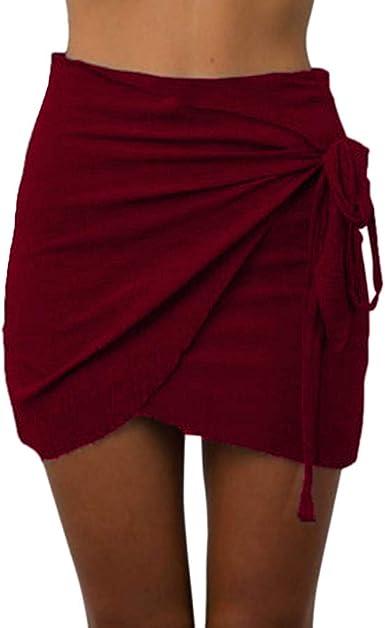 Covermason Mujer Wrap Fiesta Nocturna Color Sólido Cintura Alta ...
