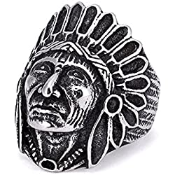 Arlumi Stainless Steel Vintage Indian Chief Head Mens Biker Rings Silver Black