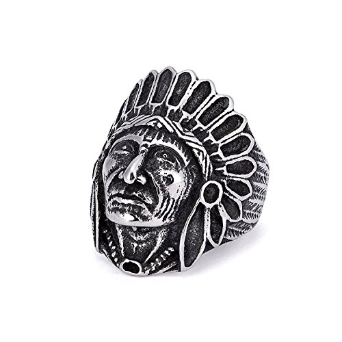 [Arlumi Stainless Steel Vintage Indian Chief Head Mens Biker Rings Silver Black] (Male Indian Chief Costume)