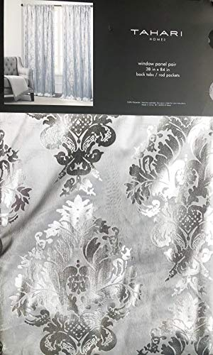 Tahari Home Maison Velvet Window Panels Rod Pockets Back Tabs Draperies Curtains Set of 2 Floating Damask Medallions Pattern in Silver on Gray - 38
