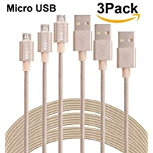 SEGMOI (TM)3M/10Ft Extra Long Tangle Free Nylon Braided High Speed Micro USB Charging Data Sync Cable Android Charger Cord With Aluminum Heads for Samsung HTC LG Huawei Xiaomi ZTE (3Pack-Golden)