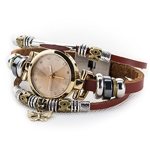 Fashion Women's Lady's Wrist Bracelet Leather Watch with Retro Butterfly Charm Gift