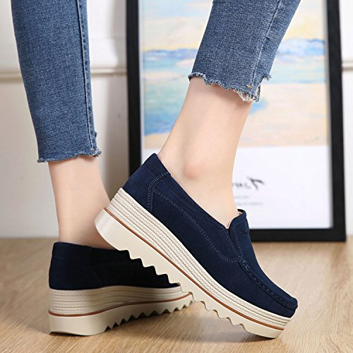 Platform Ladies Slip Sneakers Blue for Shoes On Loafers PINGYE Top Suede Moccasins Wide Women Low Wedge Comfort qfT5gxw