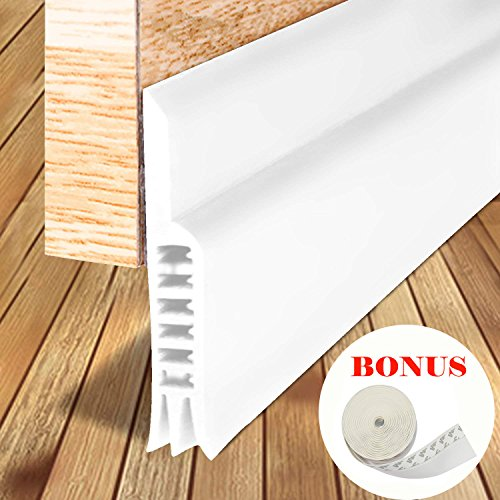 LPPROFE Energy Efficient Door Under Seal Strip Bottom Weatherstripping Noise Blocker Soundproof Adhesive 2'' Width x 40'' Length White by LIPROFE