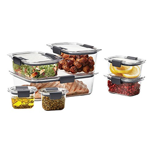 e Food Storage Container, 14-Piece Set, 100% Leak-Proof, Plastic, Clear (Rubbermaid Stackable Storage)