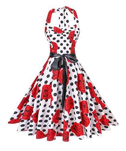 V Fashion Women's Vintage 1950s Halter Neck Polka Dot Audrey Hepburn Dress 50s Retro Swing Dresses with Belt,Black Dot Red Roses,Small