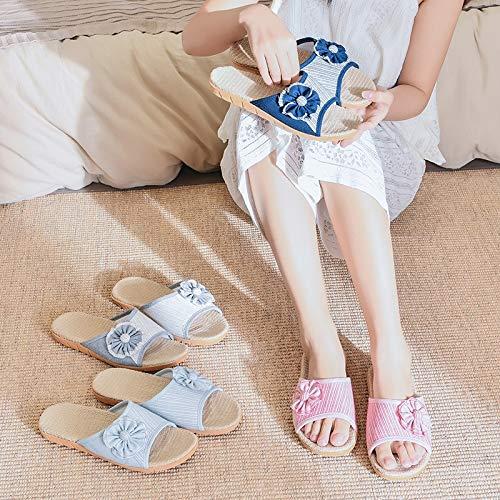 Maison La Pour Les Dames À A dérapant Ouvert Doux L'intérieur Blue L'extérieur Anti Tissu Bout Lin Coton En Respirantes Chaussures Pantoufles Femmes Et pq4nwfECC