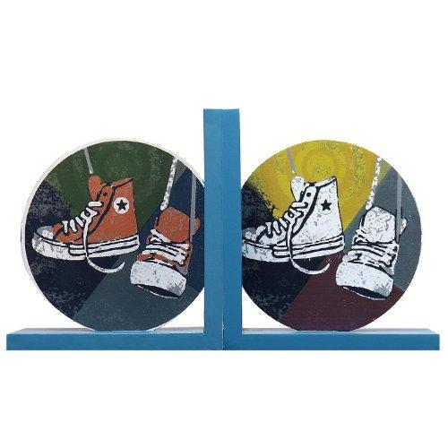 Adeco Back-to-School Sale Set of 2 Decorative Wood Child Teen Sneakers Bookends, Kid Bedroom, Bookshelf, Storybook