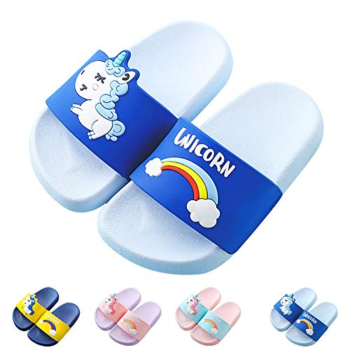 Kids Unicorn Slide Sandals Non-Slip Summer Beach Water Shoes Boys Girls Shower Pool Slippers(Toddler/Little Kids) (12-12.5 Little Kid, Sky Blue) -