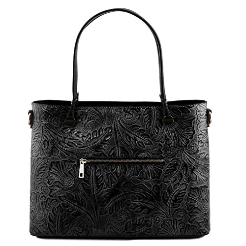 Tuscany Leather Atena Ruga leather shopping bag with floral pattern - TL141655 (Schwarz) Schwarz