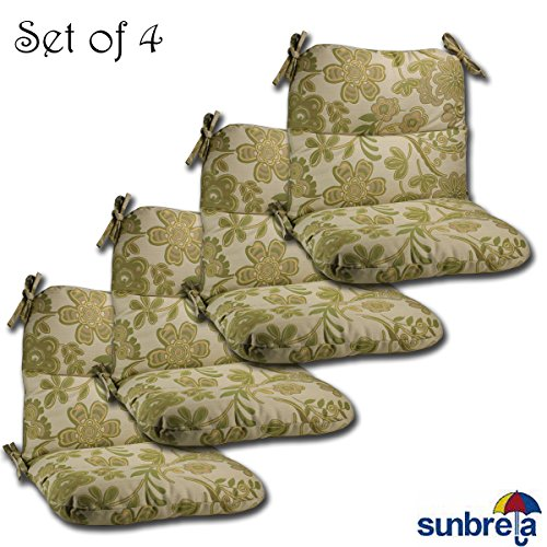 Set of 4 Outdoor Chair Cushions 20 x 36 x 3 H-19 in Sunbrella Fabric Olivia Meadow by Comfort Classics Inc. Made in USA