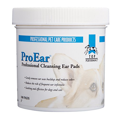 Pads Ear Cleansing (Top Performance ProEar Cleansing Pads — Safe and Effective Pads for Cleaning Pets' Ears, 100-Pack)