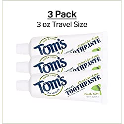 Tom's Of Maine Fluoride-Free Natural Toothpaste Fresh Mint Travel Size 3 oz Pack of 3