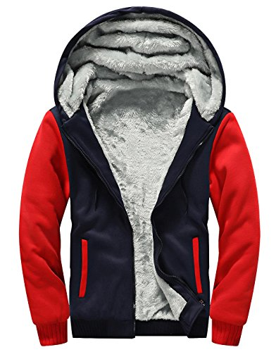 Feoya Men's Thicken Flannel Long Sleeve Outerwear Hoodies Sweatershirt Red 4XL ()