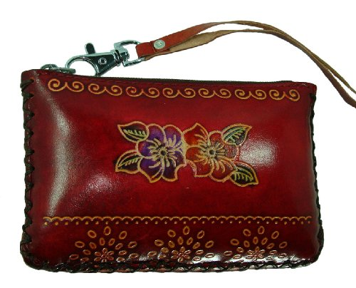 - Hand Made Leather Change/coin Purse, Rectangle Shape, Lovely Flower Embossed, a Mini Wristlet Wallet, Collectible. (Red)