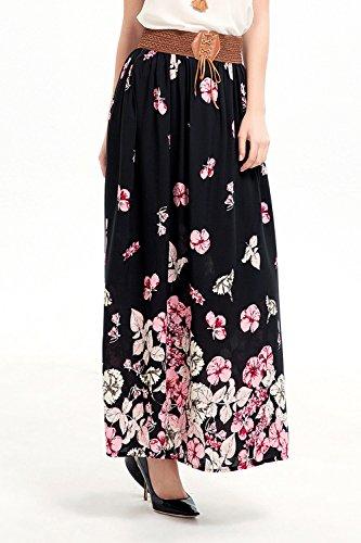 Monika Impression Maxi Casual Taille Haute Fte Soire t Plisse Plage Jupe Noir de Fashion Femmes Jupes Cocktail de rqwUrFIxEt