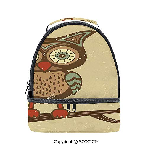 SCOCICI Large Capacity Durable Material Lunch Box Cute Owl Sitting on Branch Eyesight Animal Humor Pastel Retro Modern Graphic Multipurpose Adjustable Lunch Bag