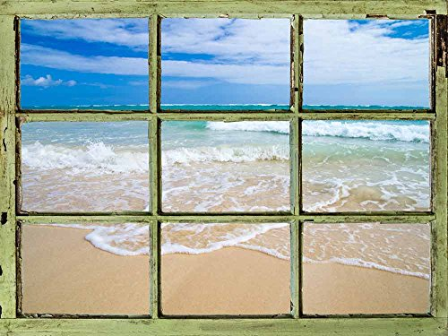 Window View Wall Mural Tropical Beach and Clear Sea Waves Vintage Style Wall Decor Peel and Stick Adhesive Vinyl Material