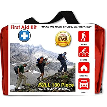 First Response Medical Supplies Compact 130 Piece First Aid Kit Water Resistant Tri-Fold Case For Home Car Camping Hiking