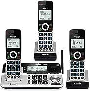 VTech VS113-3 Teléfono inalámbrico de rango extendido con 3 teléfonos para el hogar con bloqueo de llamadas, c