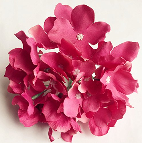 10pcs Silk Hydrangea Flower Heads 15cm Diameter with 12cm long Stem Artificial Flowers Hydreageas for DIY Bridal Bouquet Wedding Centerpieces Decorative Flower (hot pink)