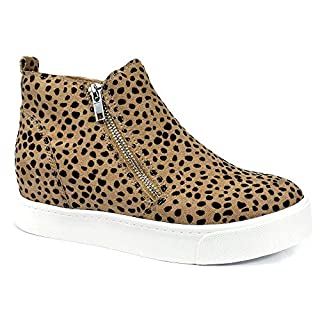 Soda Taylor Hidden Fahsion Wedge Sneaker Shoes Side Zipper Leopard (11)