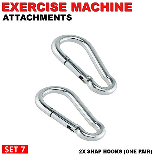 Rope Spring Hook (FITNESS MANIAC Stainless Steel Spring Snap Hook Carabiner Home Gym Body Building Weightlifting Attachments Machine Equipment Barbell Bar Accessories Weightlifting Accessory Set)