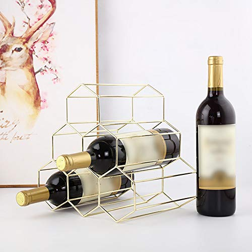 Gotian Nordic Style Wrought Iron Wine Rack - Geometric Iron 6 Bottle - Freestanding Kitchen Storage Stand Gold