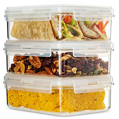 Komax Hikips 3-Pack Bento Lunch Box | 27.5-oz Leakproof Lunch Containers | Meal Prep Containers | Microwavable Food Containers | Freezer & Dishwasher Safe | BPA-Free, Clear Tritan