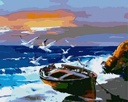 DIY 数字油絵 のための数字によるペイント 家の壁アート落書き装飾カスタムギフト-漁船 50cmX40cm (フレームレス)