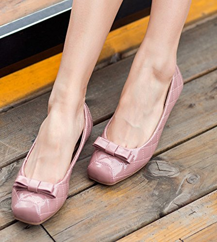 CHICKLE Comfort Flat Square with Toe Ballet Pink Shoes 8 Women's 5 Bows txxXw7