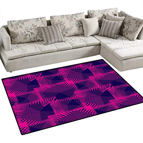(Magenta Bath Mat 3D Digital Printing Mat Trippy Zip Style Mix Pattern with Dark Color Effects and Diagonal Linked Lines Door Mat Increase 55