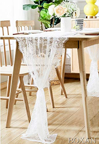 "BOXAN 30"" x 120"" Vintage Wedding White Lace Table Runner, Rose Floral Lace Table Overlay Table Cover, Rustic Wedding Reception Table Decorations, Bridal Shower Baby Shower Party Decorations"