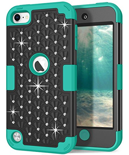 Hocase iPod Touch 7th/6th/5th Generation Case, Shockproof Heavy Duty Silicone Rubber+Hard Plastic Glitter Protective Case for iPod Model A2178, A1574, A1509, A1421 - Black/Teal Green (Gold And Teal Glitter)