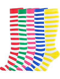 Women's Knee High Socks Cotton Solid Rainbow Stripes Colorful Pattern Stay Up Design