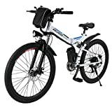 ANCHEER Folding Electric Mountain Bike with 26 Inch Wheel, Large Capacity Lithium-Ion Battery (36V 250W), Premium Full Suspension and Shimano Gear (Black.)