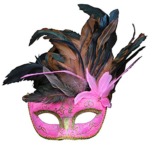 Costume Mask Feather Masquerade Mask Halloween Mardi Gras Cosplay Party Masque (Pink Feather Mask)